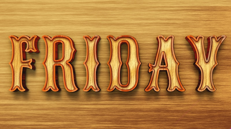 3D Wood Text Style PSD