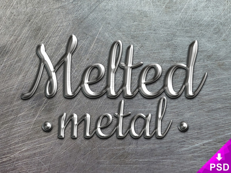 Melted Metal Text Style PSD