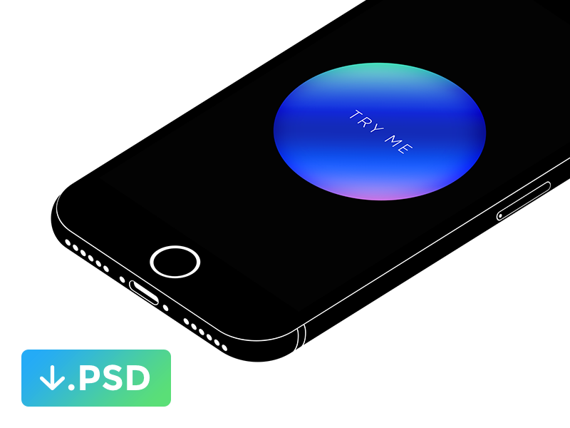 iPhone 7 Minimal Isometric Mockup
