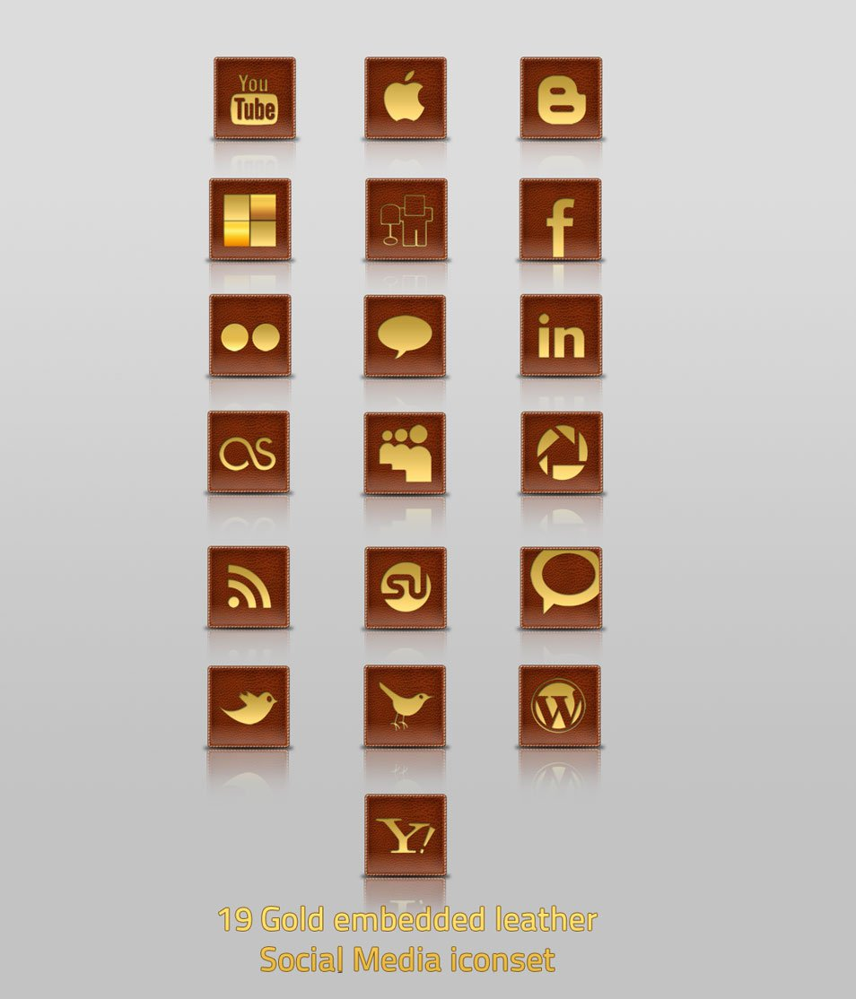 Gold Embedded Leather Social Media Iconset