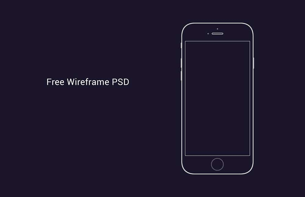 Free iPhone 6 Wireframe PSD