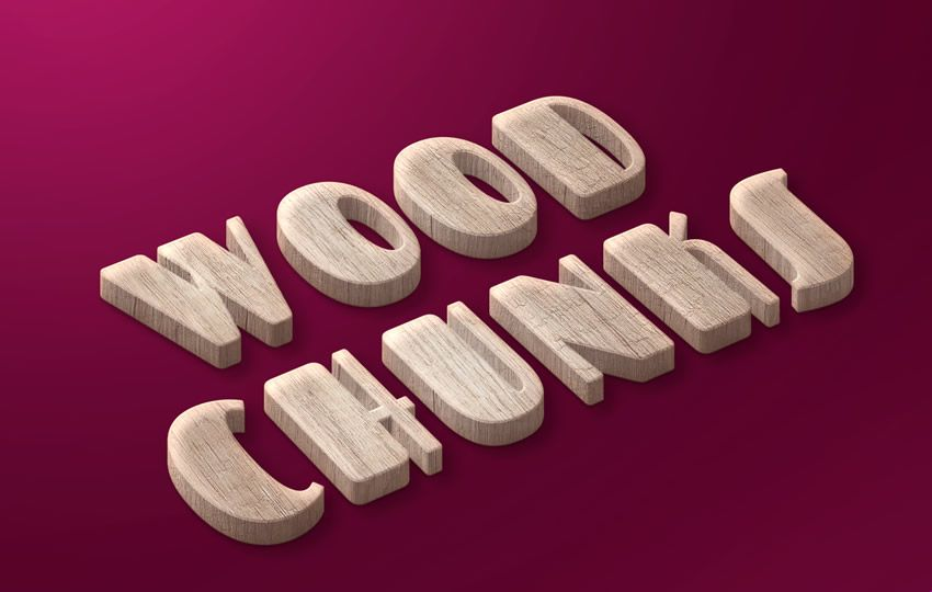Wood Chunks Free Text Style PSD