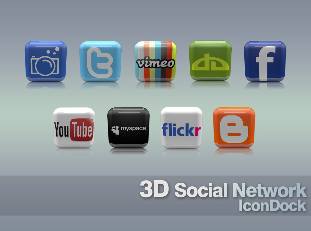 3D SOCIAL NETWORK ICONDOCK