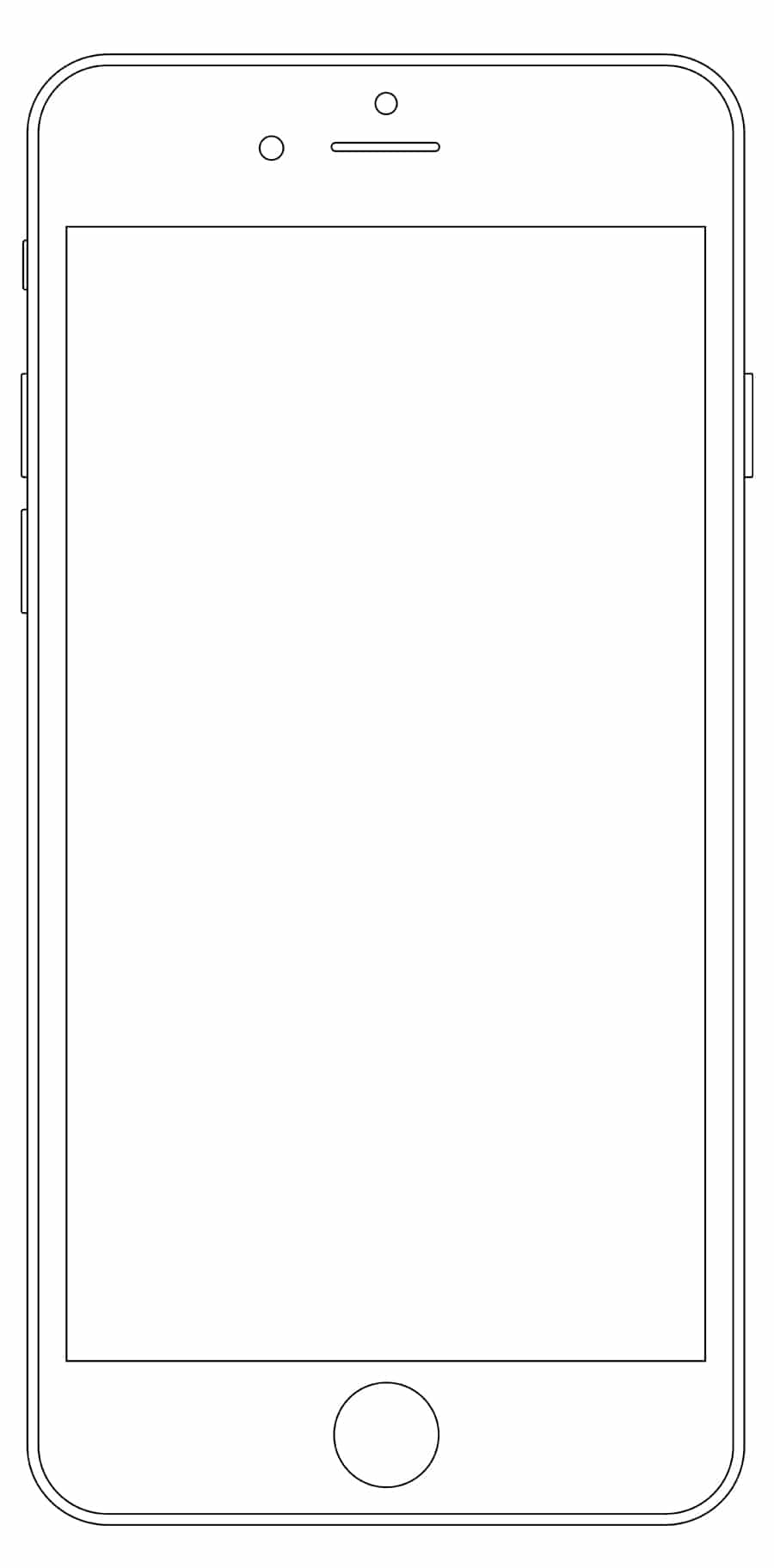 iPhone outline Wireframe Mockup PSD