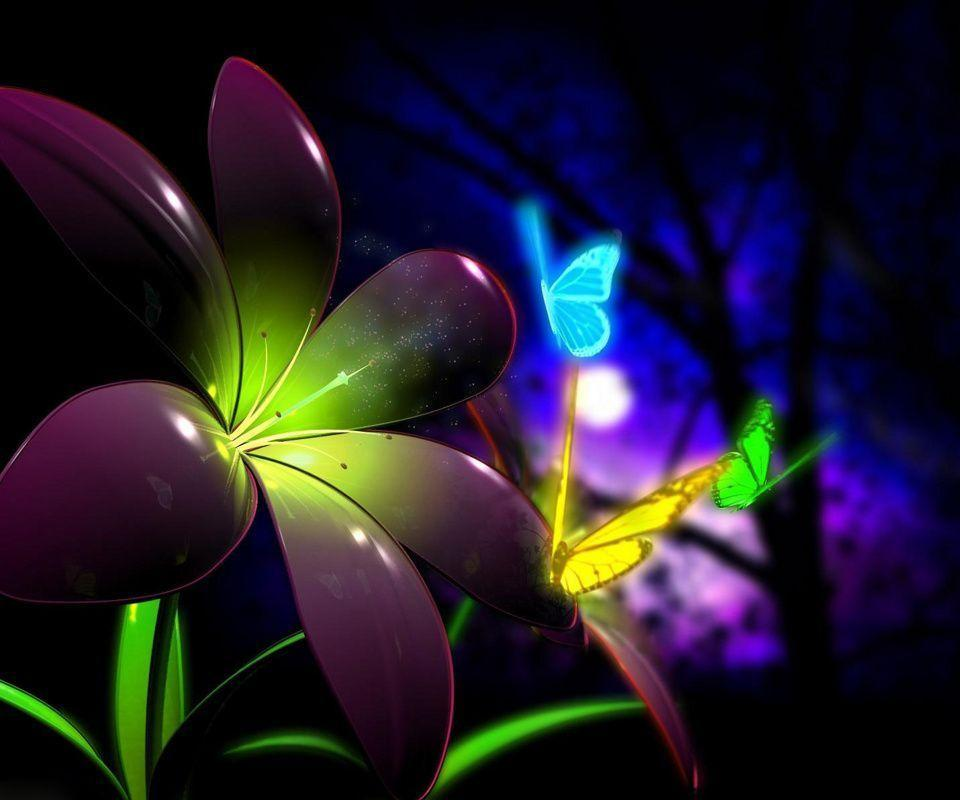 Flower and Butterfly 3D Wallpaper
