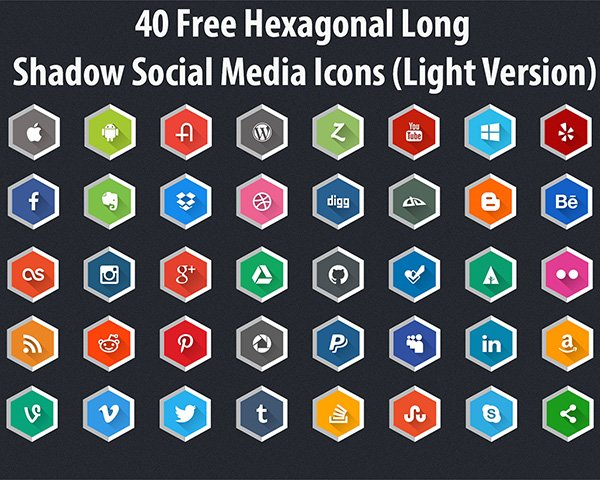 Hexagonal Long Shadow Social Media Icons (Light Version)