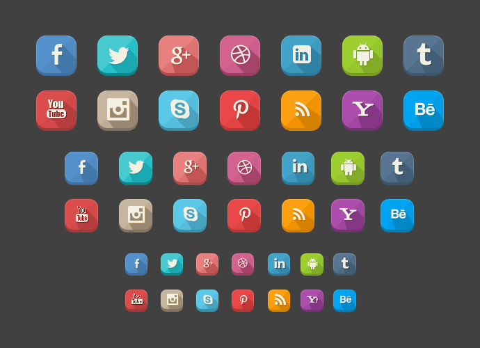 Long Shadow Social Icons(PSD)