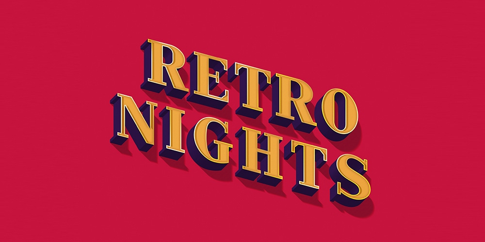 Retro Nights Text Effect PSD