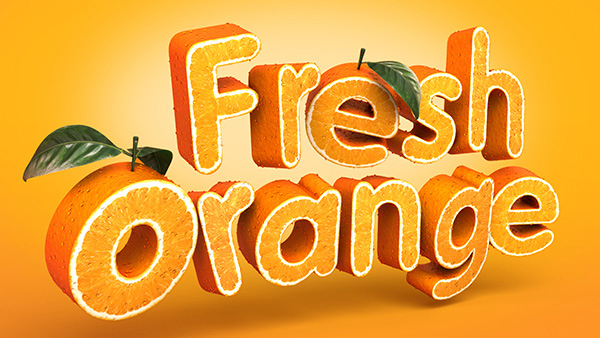 Create a 3D Fruit Textured Text Effect