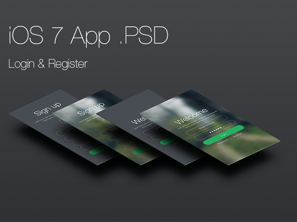 iOS 7 Login and Register App(PSD)