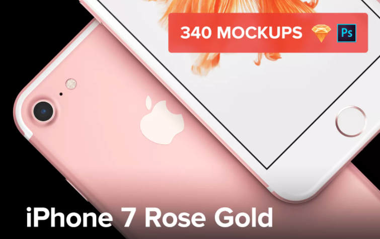 iPhone Rose Gold Mockup