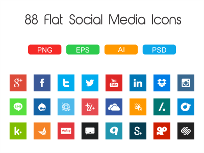 88 Flat Social Media Icons by Matej Dumancic