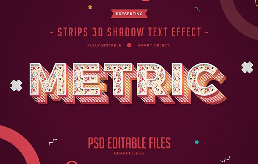 Strips 3D Shadow Text Effect