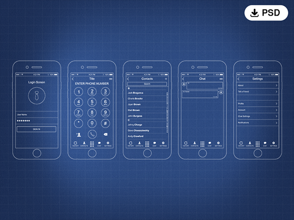 Free iPhone PSD Wireframe Kit UX PSD Kit