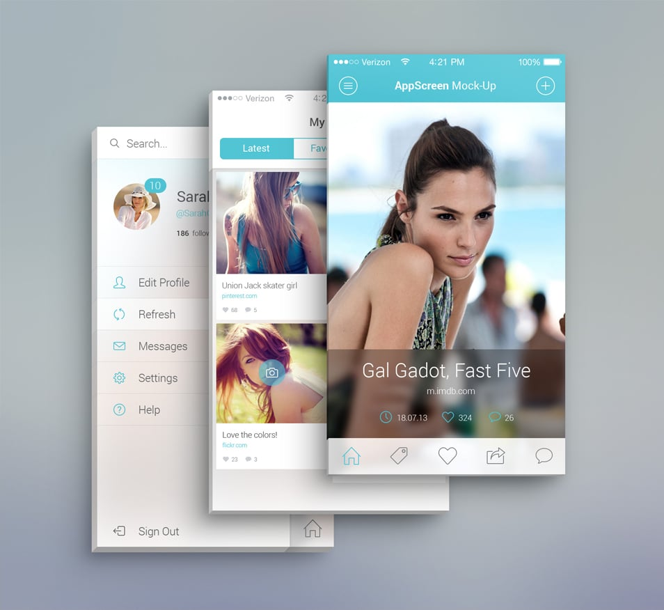 Front View App Screen Mockup