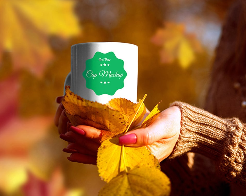 Autumn Cup Scenery Mockup