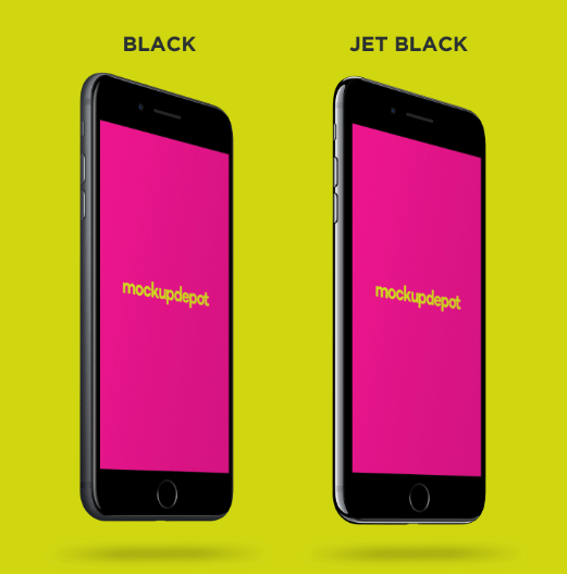 Free 4K Black and Jet Black iPhone Plus PSD Mockup