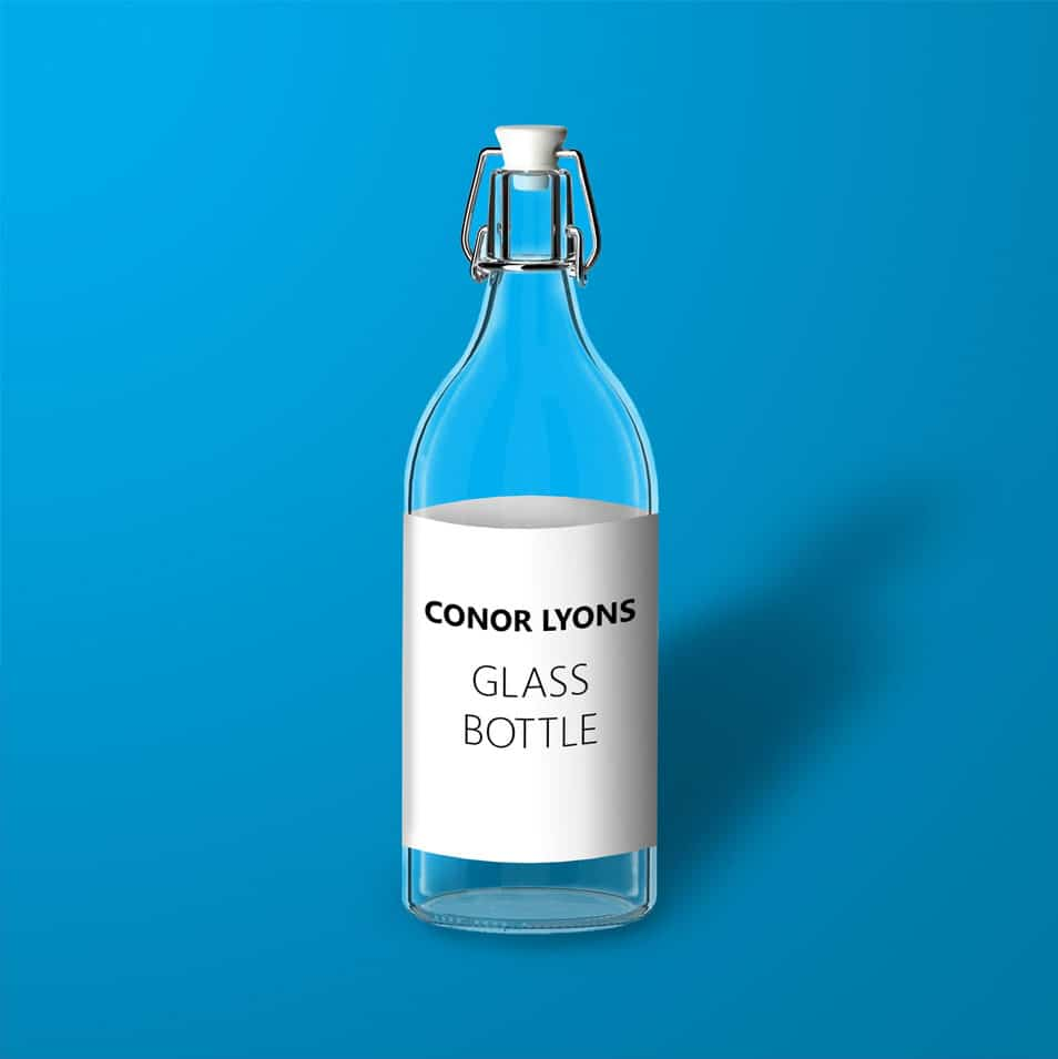 Transparent Glass Bottle Mockup