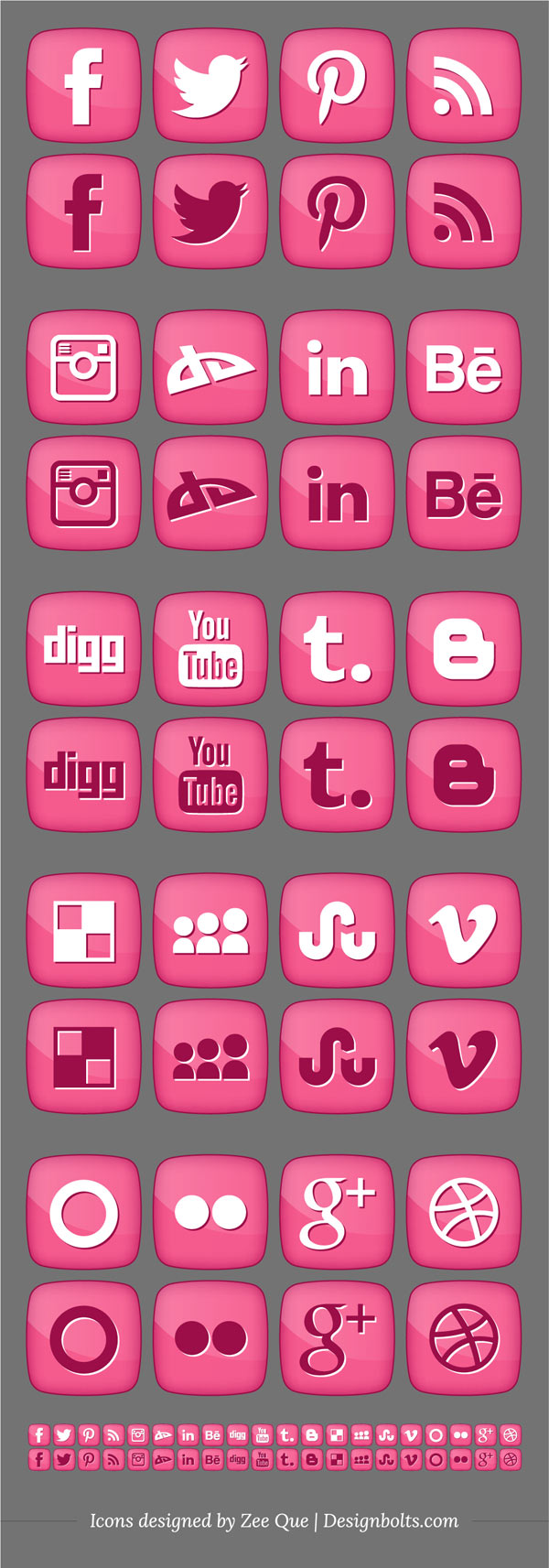 Girly Social Media Icons