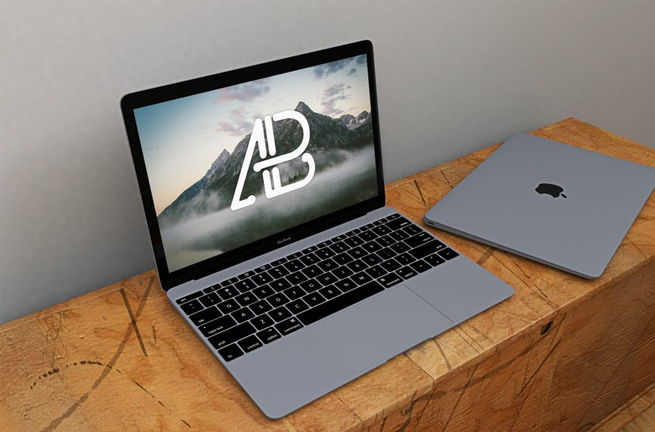 Space Grey Macbook Mockup