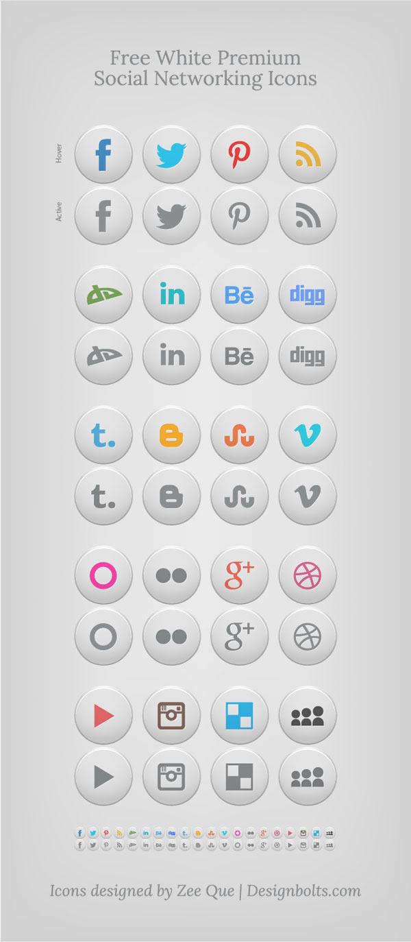 White Premium Social Networking Icons