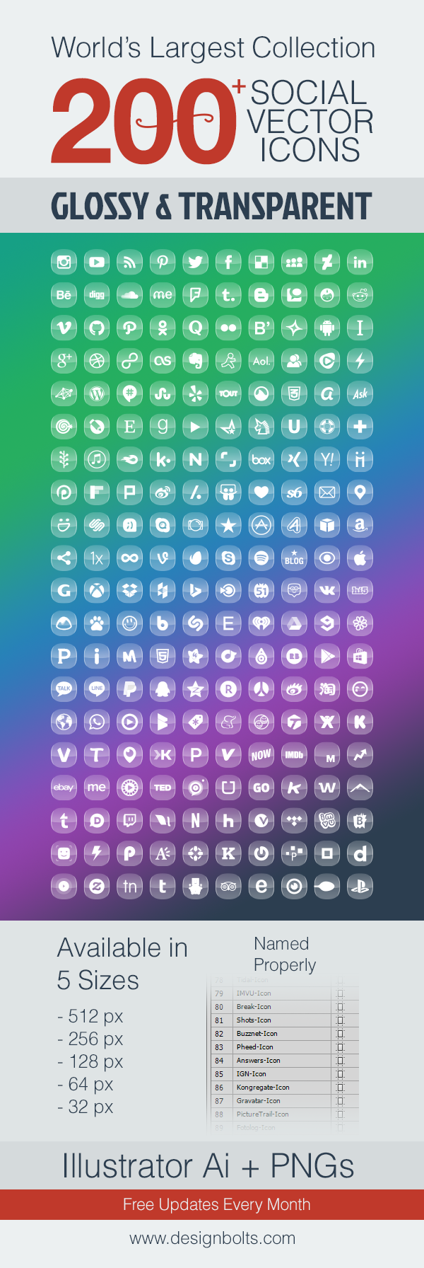 200+ Glossy & Transparent Social Media Icons