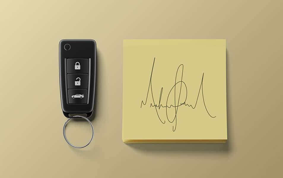 Sticky Notes with Carkeys Mockup