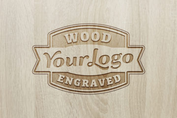Engraved Logo Wood Mockup