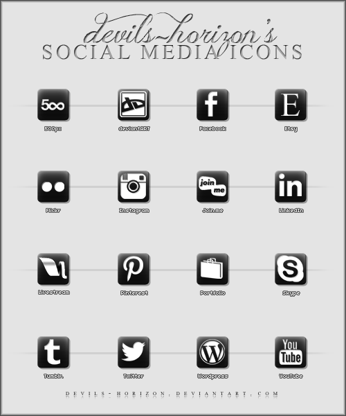 Black + White - Social Media Icons