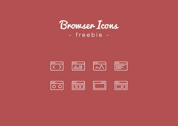 Outline Browser Icons in PSD