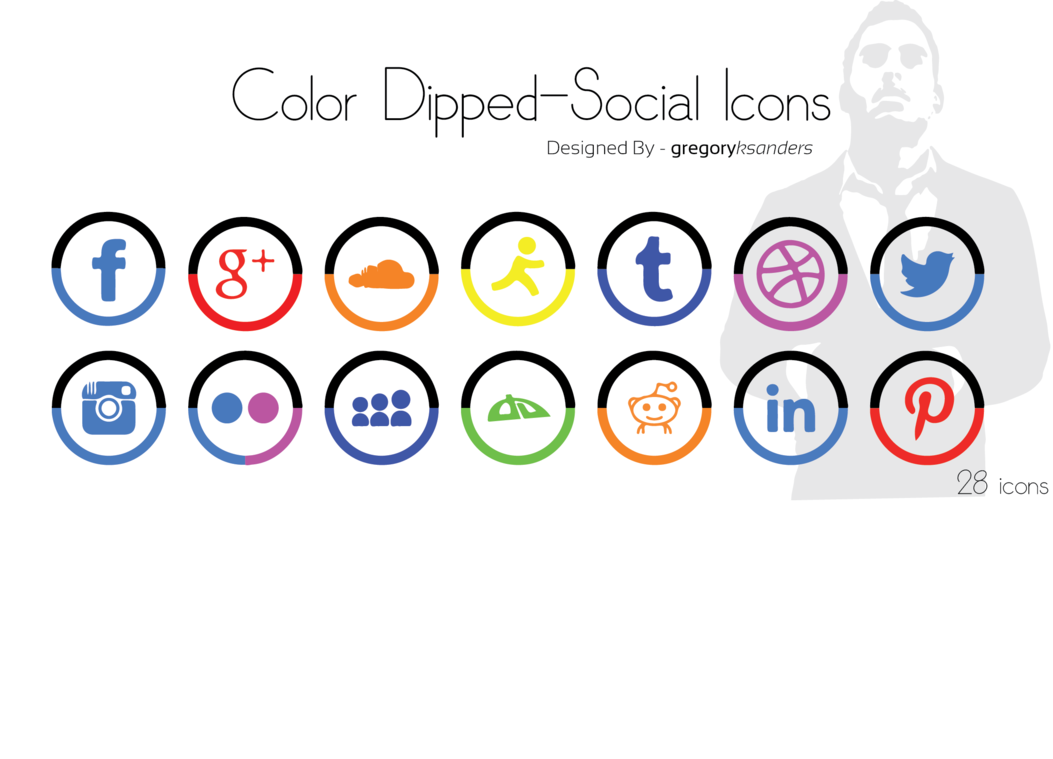 Color Dipped Social Media Icons