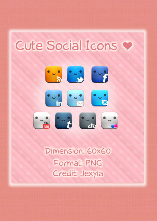 Cute Social Icons Set