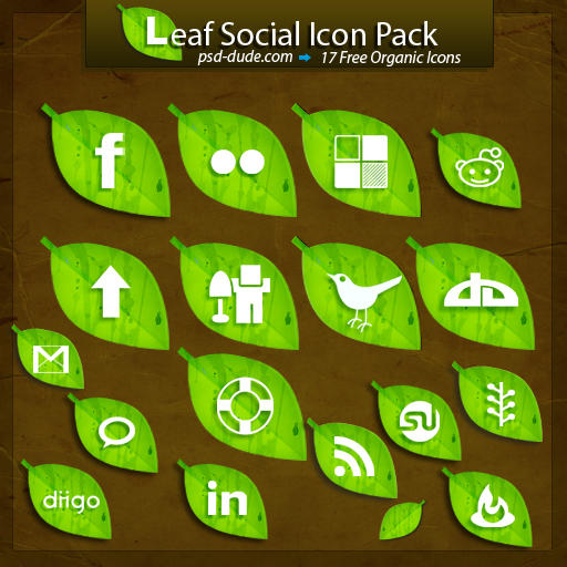 Free Leaf Social Icon Pack