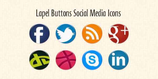 Lapel Buttons Social Media Icons