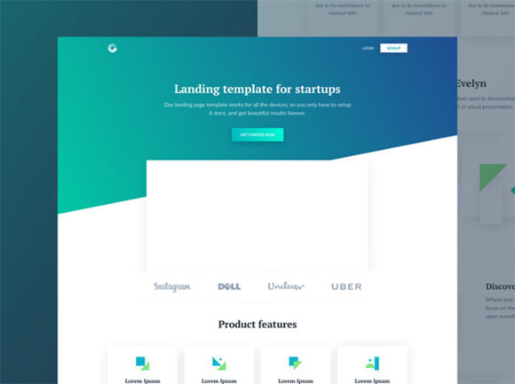 Free Startup Evelyn HTML Landing Page