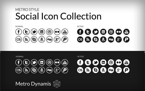 Metro Style UI Social Icon Collection