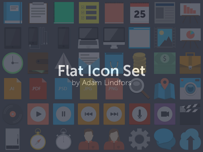 75 Flat Style PSD Icons