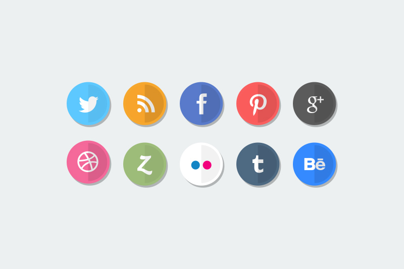 Flat Social Media Icons by BesPSDFreebies