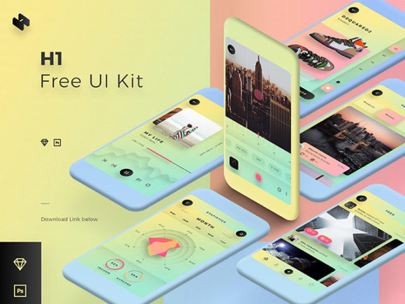 Download this H1 Colorful Mobile UI Kit