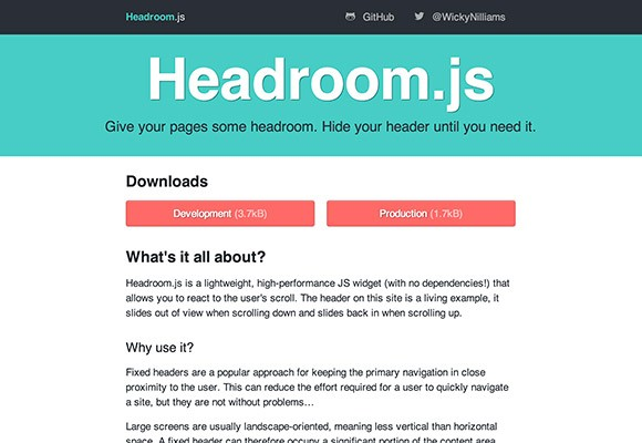 Headroom.js Plugin