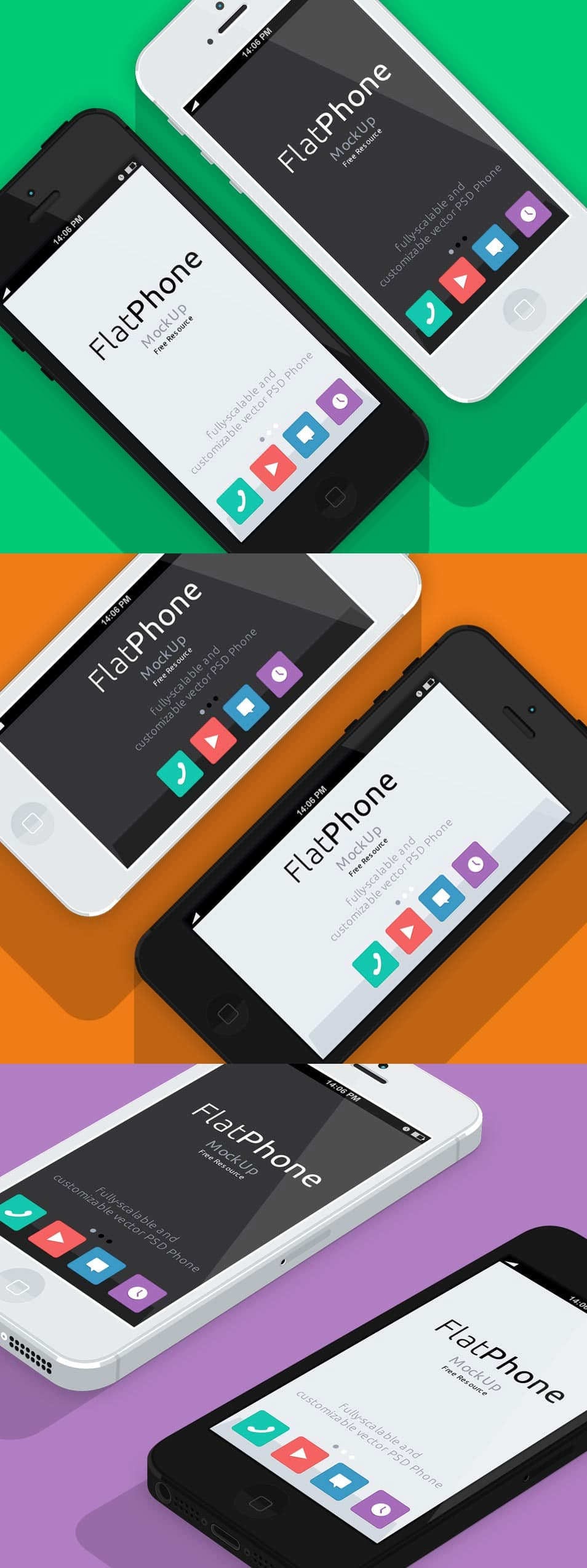 iPhone 5 Flat Design Mockup