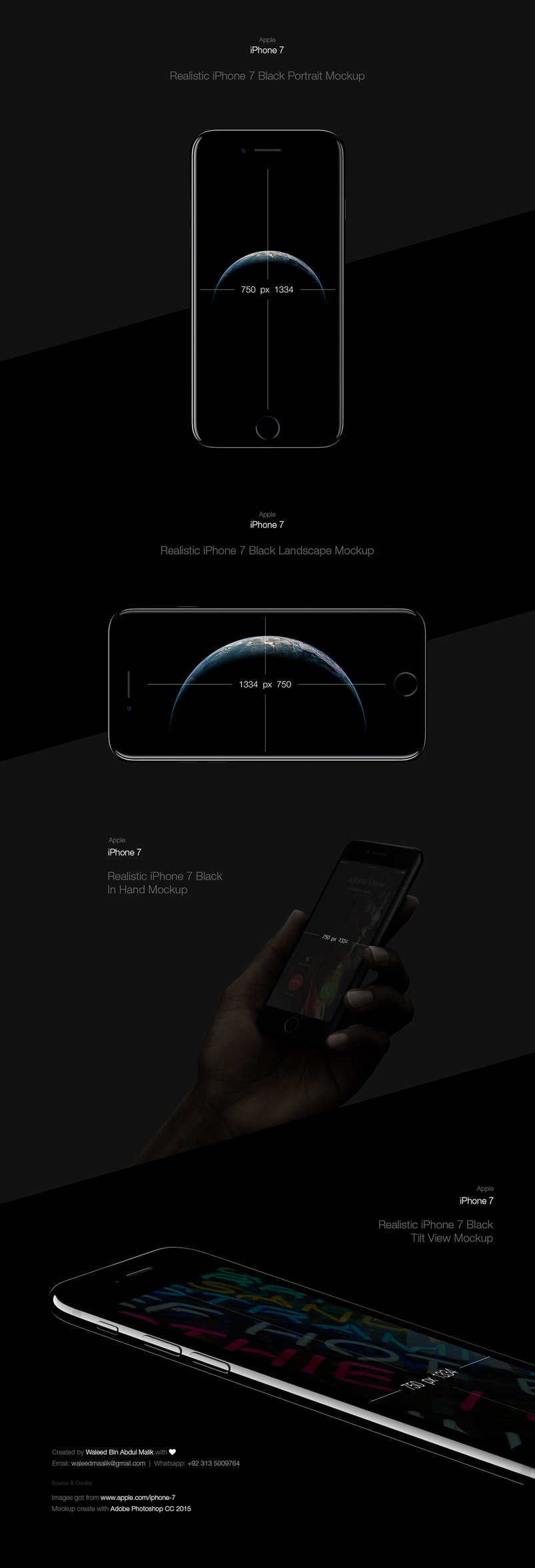 iPhone 7 Black Free PSD Mockup