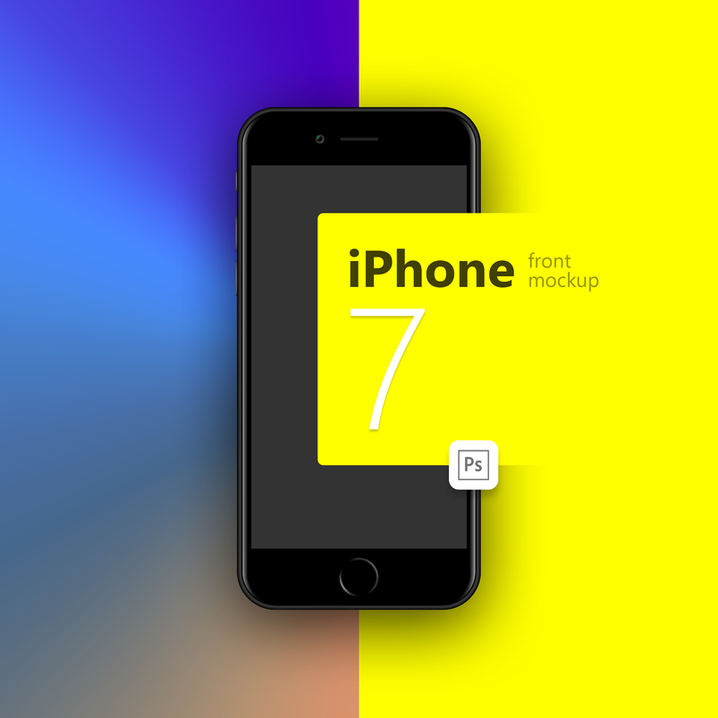iPhone Black Front PSD Mockup