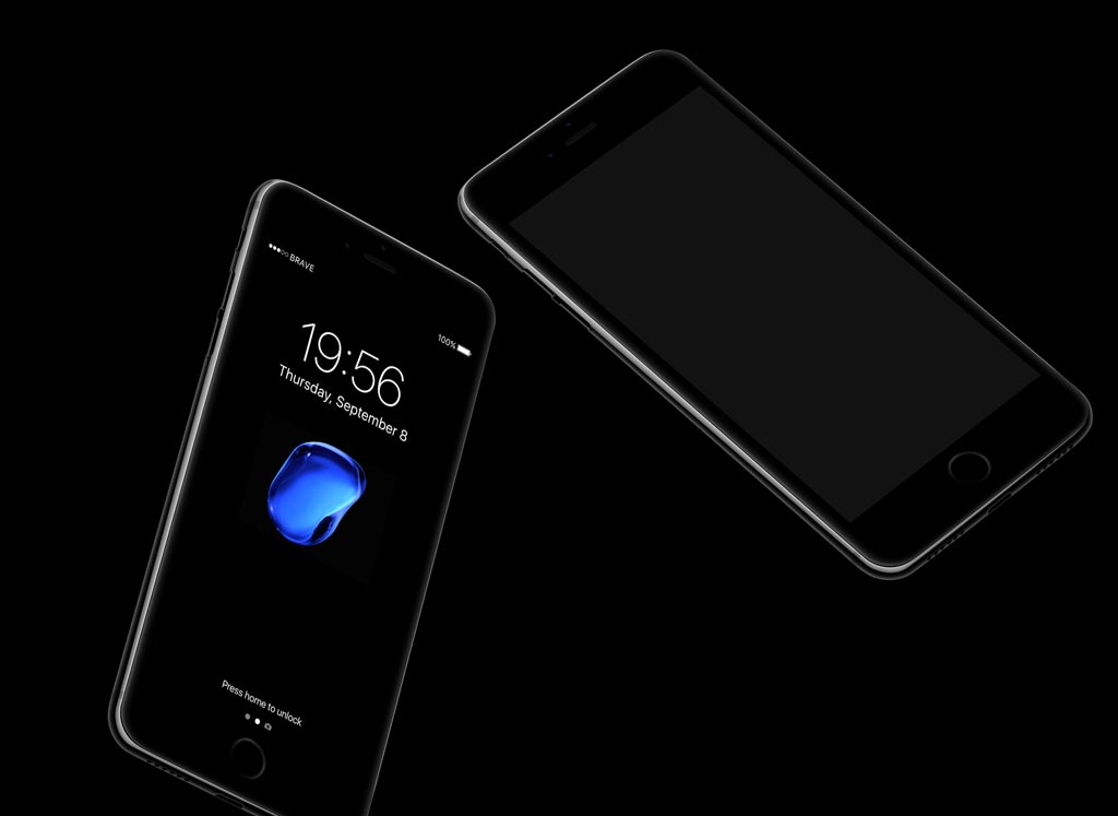 Floating iPhone 7 Jetblack Mockups