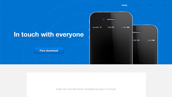 iPhone App Website Template - FREE