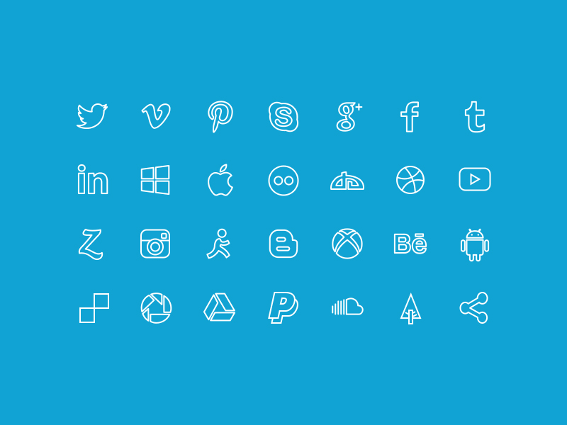 Outline Social Icons