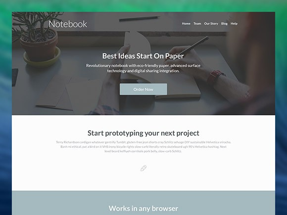 Notebook Landing Page Template