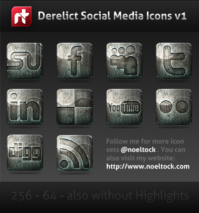 Derelict-Free Social Media Icons
