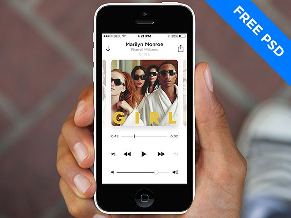 Minimal Music Player for iOS7