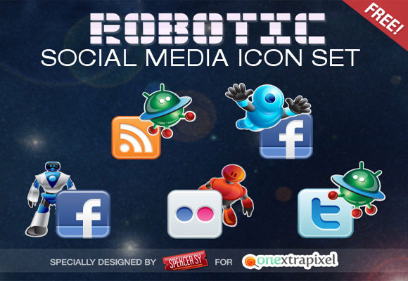 Free Robotic Social Media Icons Set